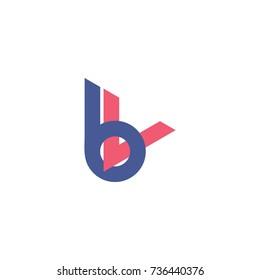 letters bv connected 3d design logo vector