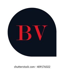 letters BV rounded square shape icon logo red