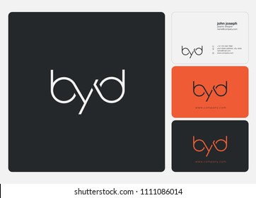 Letters BYD joint logo icon with business card vector template.