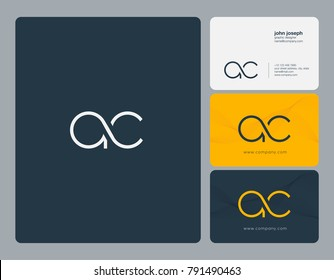 Letters A C, A&C joint logo icon with business card vector template.