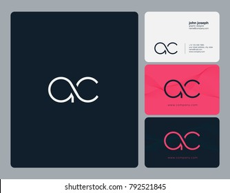 Letters A C joint logo icon with business card vector template.