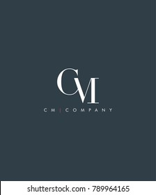 Letters C & M joint logo icon vector element.
