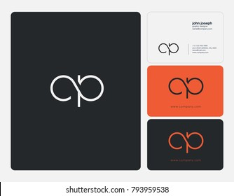 Letters C P, C&P joint logo icon with business card vector template.