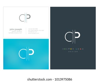 Letters C P, C & P joint logo icon with business card vector template.