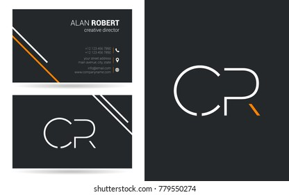 Letters C R Stroke Logo icon with Business Card Template Vector.
