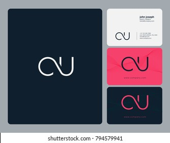 Letters C U, C&U joint logo icon with business card vector template.