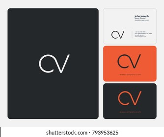 Letters C V, C&V joint logo icon with business card vector template.