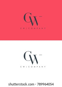 Letters C W joint logo icon vector element.