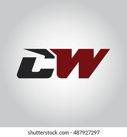 The letters C and W logo automotive black and red colored