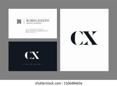 Letters C X joint logo icon with business card vector template.