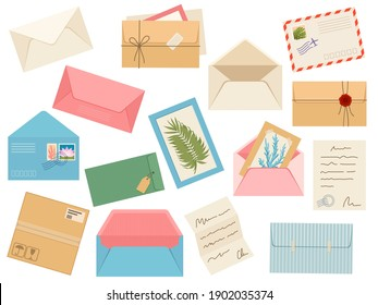 Letters, cards and envelopes. Postcard, paper mail with postmark, wax sealing and postage stamp, note and open handmade envelope, vector set. Illustration letter mail envelope paper