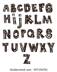 The letters carved on wood