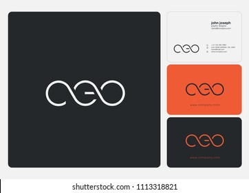 Letters CEO logo icon with business card vector template.