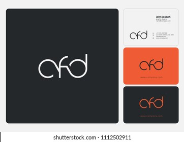 Letters CFD logo icon with business card vector template.