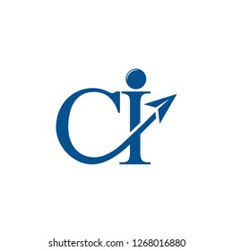 letters ci arrows motion logo vector
