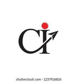 letters ci paper plane arrow logo