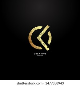 Letters CK negative space with blotch effect and with luxurious gold color. suitable for fitness and clothing logos.