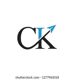 letters ck swoosh arrow logo vector