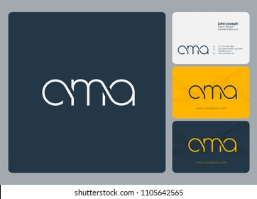 Letters CMA logo icon with business card vector template.