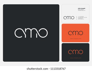 Letters CMO logo icon with business card vector template.