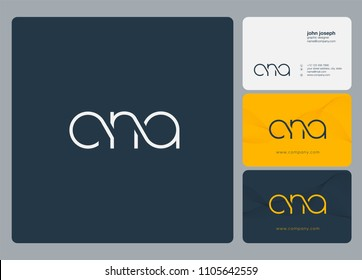 Letters CNA logo icon with business card vector template.