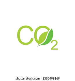 letters co2 leaf shape symbol logo vector