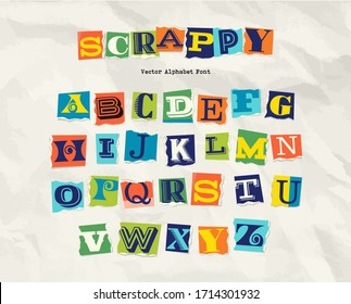 Letters cut and torn from magazine on wrinkled paper background. Design elements for creative typography, scrapbooking, cards and posters.  Vector Illustration.