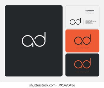 Letters A D, A&D joint logo icon with business card vector template.