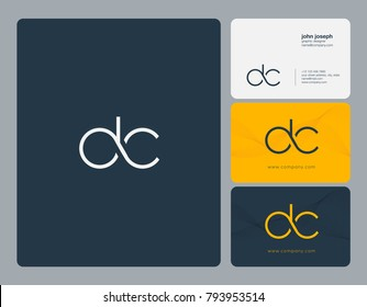 Letters D C, D&C joint logo icon with business card vector template.