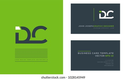 Letters D C, D & C joint logo icon with business card vector template.