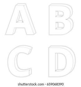 Letters A to D color White Modern 3D style.