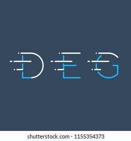 Letters D, E, G in motion, fast services concept logo elements, delivery and transport icons, mono line vector