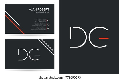 Letters D G Stroke Logo icon with Business Card Template Vector.