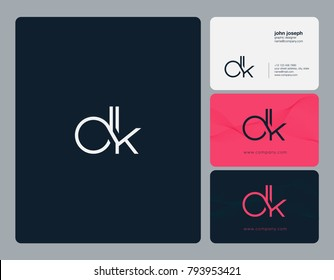 Letters D K, D&K joint logo icon with business card vector template.