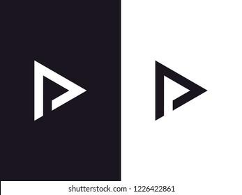 Letters D and P logo, negative space style. Minimal monochrome monogram symbol. Universal elegant vector sign design. Graphic alphabet symbol for corporate identity