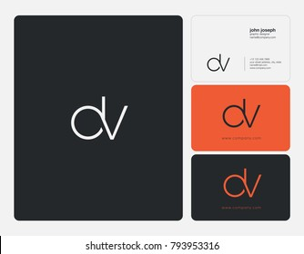Letters D V, D&V joint logo icon with business card vector template.