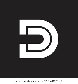 letters dd lines geometric logo vector