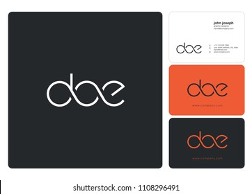 Letters DOE logo icon with business card vector template.