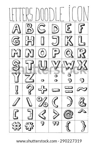 Letters Doodle Icon Alphabet Signs Symbols Stock Vector Royalty