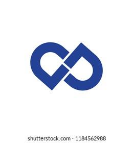 letters dp infinity lines logo vector