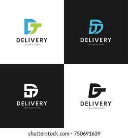 Letters DT logo vector design. TD company sign.