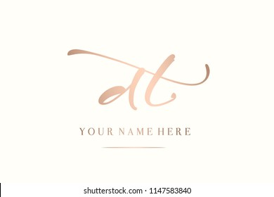 Letters d&t monogram.Metallic rose gold letter based vector icon.Initials logo isolated on light background.