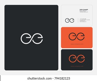 Letters E E, E&E joint logo icon with business card vector template.