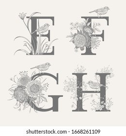 Letters E F G H, flowers peonies, decorative herbs and birds isolated set. Vector decoration. Black and white. Vintage illustration. Floral pattern for greetings, wedding invitations, text design.