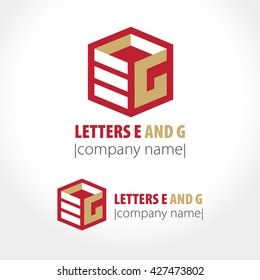 The letters e and g cubed. Sign, symbol, logo. Vector illustration.