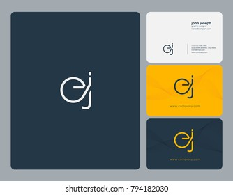Letters E J, E&J joint logo icon with business card vector template.