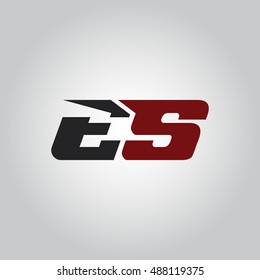 The letters E and S logo automotive black and red colored