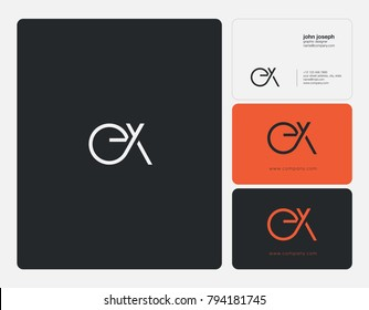 Letters E X, E&X joint logo icon with business card vector template.