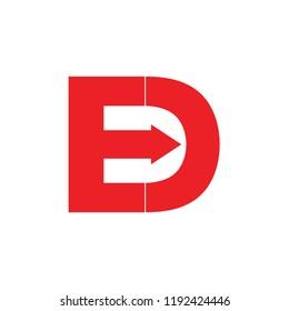 letters ed geometric arrow design logo vector