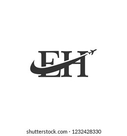 letters eh logo template
